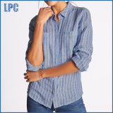 Causal Pure Linen Striped Camisa de manga comprida