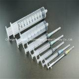 Três da seringa partes descartáveis médicas do fechamento de Luer