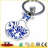 Vaso de porcelana branca e azul de forma corrente de Chave