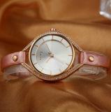 주문을 받아서 만들어진 가죽끈 쿼트 선물 숙녀의 시계 공장 제조자 (WY-001G)