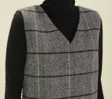 Gilet de loisirs de laines de plaid de mode de dames long