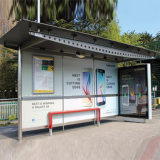 バス停の避難所を広告する太陽金属サポート