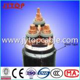 Au milieu de la tension du câble de cuivre avec isolation XLPE avec ruban d'acier blindés