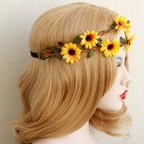 [سون] زهرة إكليل شعر تاج لأنّ شعر زخرفة