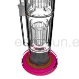 De dubbele Rechte Rokende Waterpijp van het Glas Perc met het Snuifje van het Ijs (S-GB-229)