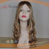 Parrucca superiore di seta delle donne delle radici scure dei capelli umani (PPG-l-01526)