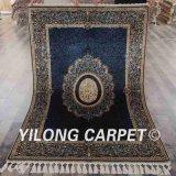 4X6FT ручной работы ковер ручной Knotted синего шелка тебризской персидский ковер (YWX057A4X6)