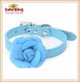 작은 개 또는 고양이 (KC0123)를 위한 로즈와 가진 5개의 색깔 애완 동물 가죽 고리
