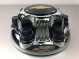 6 Ösen Chrom-Rad-Mitte-Schutzkappen-mit schwarzem Chevy Firmenzeichen