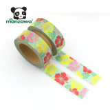 安い価格10mの幸運な花デザイン装飾的なWashyペーパーによって着色される保護テープ