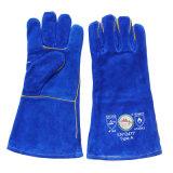 Gants protecteurs bleus de sûreté d'industrie du soudage de cuir fendu de vache