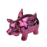 Banco Piggy do porco cerâmico cor-de-rosa encantador para a decoração Home