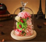 ギフトとしてガラスの安い永遠の新しく自然な維持された花ローズ