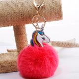 90mmののどの毛皮のピンクPOM POMの毛皮の球のKeychain袋の魅力