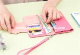 PUのリスト・ストラップが付いている革帯出登録者の電話札入れの財布