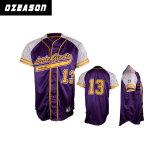 Camicia su ordinazione del pullover di baseball di sublimazione con i tasti