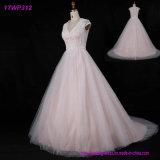 Розовым платья венчания Tulle мантий шнурка Bridal наслоенные лифом