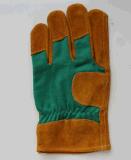 Перчатки короткой желтой коровы сваривая кожаный с зеленой задней частью хлопка