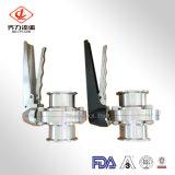 衛生ステンレス鋼の蝶弁の食品等級304/316Lのクランプまたは溶接または糸の接続