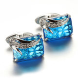 Gemelli freddi dei diamanti dei monili degli uomini di modo dell'orecchio del nastro blu della vite prigioniera