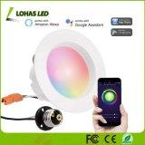 10W E26 4 Zoll vertieftes Downlights mehrfarbige Sprachesteuertes intelligentes Hauptlicht