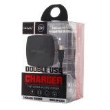 двойной заряжатель переходники USB телефона USB 2.4A быстрый с кабелем USB 1 m микро- для Android (чернота)