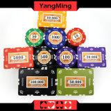 Schürhaken-Chips des Lehm-760PCS stellten/die Kronen-Lehm-Kasino-Chips, die eingestellt wurden für spielendes Spiel mit Aluminiumfall ein (YM- SGHG003)