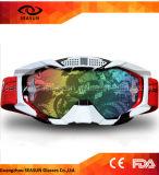 La lente protectora ULTRAVIOLETA de la capa de encargo fresca de la vendimia rasga apagado anteojos del deporte del esquí de la motocicleta