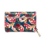 Spätestes Geschenk-schließen gesetzte Großverkauf-Damen des Entwurfs-Lcq-0126 Mappen-Fonds kundenspezifische Handtasche-Frauen-Form-Blumen-Drucken-Mappe kurz