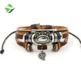 Preiswerte Armband-beiläufige mehrschichtige lederne Armband-fördernde Geschenk-Feld-justierbarer umsponnener Armband-Knoten