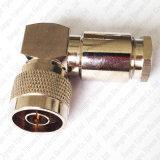 Conector de ángulo recto de la abrazadera del enchufe masculino de N para el conector de cable de LMR400 Rg8 Rg213 7D-Fb
