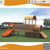 木の学校の屋外の子供のトレインのスライドの運動場
