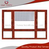 Hölzerner Korn-Wärmeübertragung-doppelter glasig-glänzender Aluminiumblendenverschluß Windows