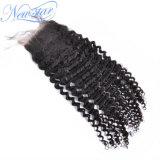 卸し売り最もよい品質の閉鎖のインドのねじれたカールの実質の人間の毛髪