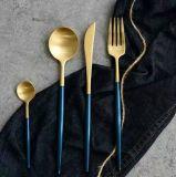 Matte polonais plaqué or de luxe poignée bleue dîner ensemble de couteaux en acier inoxydable