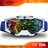 La lentille protectrice UV d'enduit fait sur commande frais de cru arrachent des lunettes de sport de ski de moto