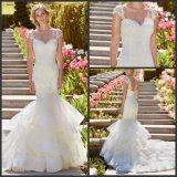 Schutzkappe Sleeves Hochzeits-Kleid Vestidos Nixe-Spitze-Brautkleid H16427