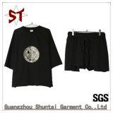 2018 Bordados Casual Moda Conjunto de curta-T-shirt calças curtos