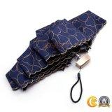 Sun/ombrelli UV su ordinazione rivestito nero mini volta della pioggia cinque/casella/regalo anti