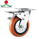 100mm com núcleo de plástico do freio giratório pu- Rodízio de Serviço Pesado