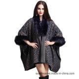 暖かい2018冬はサイズと長い袖のヒョウのポンチョプリントショールの女性ののどのキツネの毛皮の緩いカーディガンのコートを編んだ