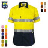 Het fluorescente Groene Oranje Korte Overhemd van de Veiligheid van de Slijtage van het Werk van de Koker