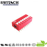 Красный Dust-Proof PCB слайд, Micro фортепиано, прямоугольный Spst Miniture электронный водонепроницаемый DIP переключатель (SW10-DS-08)