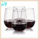 赤く短いStemlessワイングラス