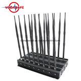 Las antenas de 16 ajustable en la pared celular y WiFi y GPS Jammer, ajustable + Control Remoto Jammer celular 3G y WiFi jammer