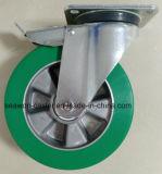 """8"""" tipo Euro Heavy Duty de aluminio freno Total Core PU Caster (Blanco el zincado)"""
