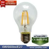 Lâmpada de incandescência LED 6W com 110lm/W