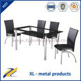 Tabela de vidro e cadeira de couro Restaurante utilizado Conjunto de jantar