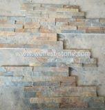 Placage en pierre normal d'ardoise rouillée de couleur pour le revêtement de mur extérieur et intérieur