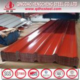 Hoja de acero acanalada prepintada cubierta color para el panel del material para techos